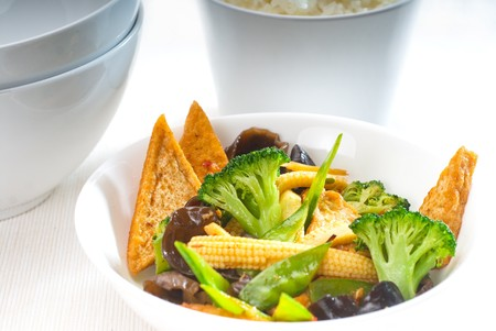 fresh and healthy tofu,beancurd with mix vegetables typical chinese dish photo