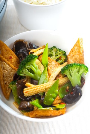 fresh and healthy tofu,beancurd with mix vegetables typical chinese dish Stock Photo - 7649518