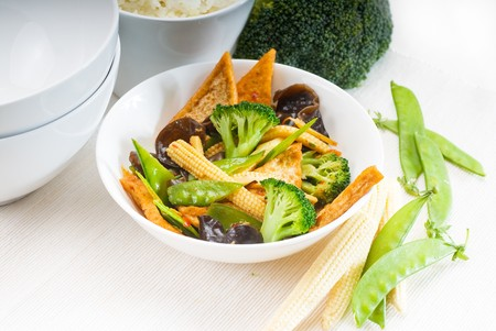 fresh and healthy tofu,beancurd with mix vegetables typical chinese dish Stock Photo - 7649519