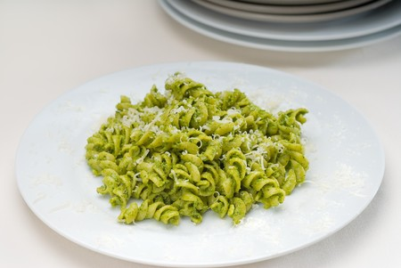 italian fusilli pasta and fresh homemade  pesto sauce Stock Photo - 7783684