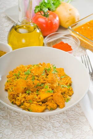 fresh home made curry beef rice and potatoes with ingredients around composition Stock Photo - 7899375