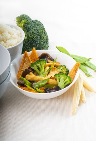 doufu: fresh and healthy tofu,beancurd with mix vegetables typical chinese dish Stock Photo