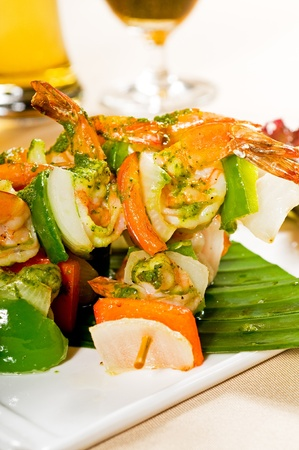 fresh and colorfull grilled shrimps and vegetables skewers on a palm leaf ,thai style Stock Photo - 8688688