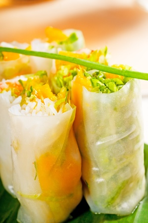 fresh tipycal vietnamese style summer rolls,on a palm leaf Stock Photo - 8688680