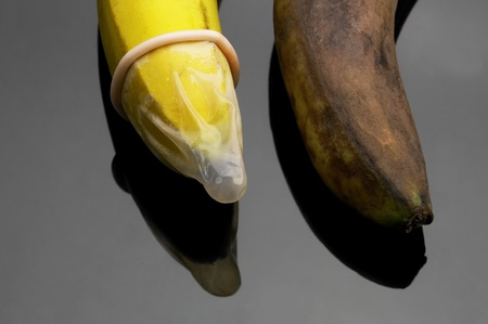 two bananas one good with condom one rotten without condom safe sex concept photo