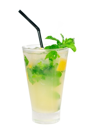 mojito caipirina cocktail with fresh mint leaves ,yerba-buena, with lime and black straw isolated on white background Stockfoto