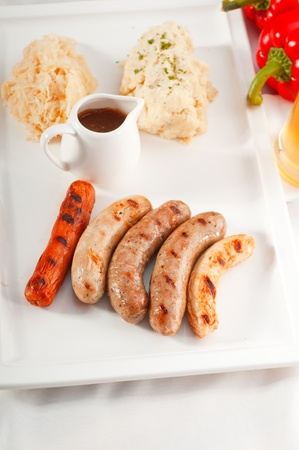 selection of all main type of german wurstel saussages, frankfurter,wiener,bratwurst. photo