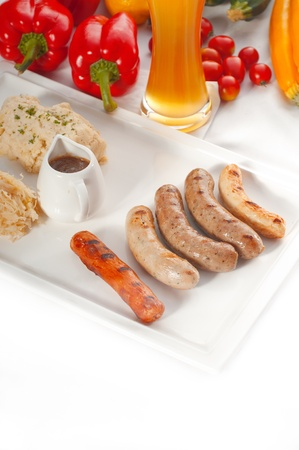 selection ,of all main type of german wurstel saussages, frankfurter, wiener, bratwurst, Fränkische, Coburger, Kulmbacher, Nürnberger, Würzburger, Thüringe, MORE DELICIOUS FOOD ON PORTFOLIO photo