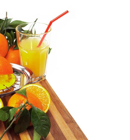 making fresh orange juice over white Stock Photo - 11888965