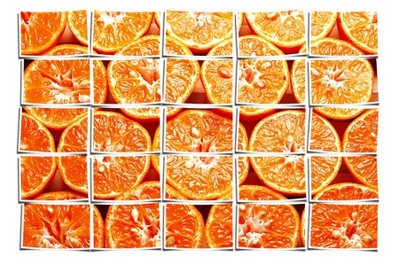 mandarinas maduras naranja cortada por la mitad Foto de archivo - 11935619