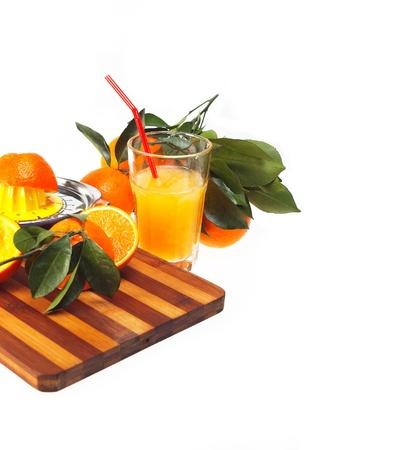 making fresh orange juice over white Stock Photo - 12183729