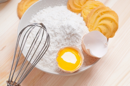 making baking simple cookies with fresh ingredient at home Stock Photo - 14238887