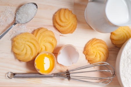 making baking simple cookies with fresh ingredient at home photo