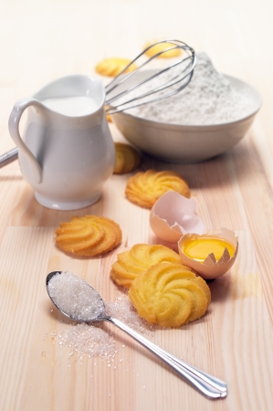 making baking simple cookies with fresh ingredient at home Stock Photo - 14459667
