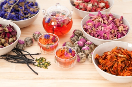 Herbal natural floral tea infusion with dry flowers ingredients