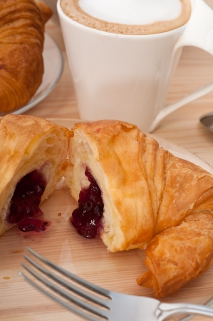 fresh croissant french bche and coffee typical traditional Italian breakfast Stock Photo - 14965049