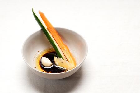 fresh raw carrot and cucumber with pinzimonio sauce italian snack appetizer Stock Photo - 15226443