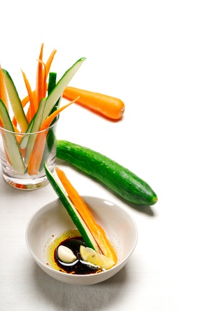 fresh raw carrot and cucumber with pinzimonio sauce italian snack appetizer Stock Photo - 15226449