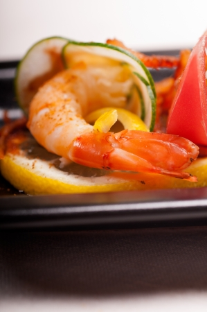 colorful  fresh prawn shrimps and vegetables appetizer snack antipasto Stock Photo - 15226451