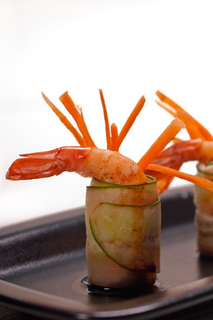 colorful  fresh prawn shrimps and vegetables appetizer snack antipasto Stock Photo - 15496528