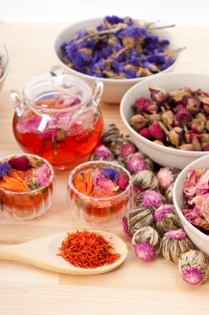 Herbal natural floral tea infusion with dry flowers ingredients Stock Photo - 15279511