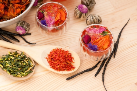Herbal natural floral tea infusion with dry flowers ingredients Stock Photo - 15279519