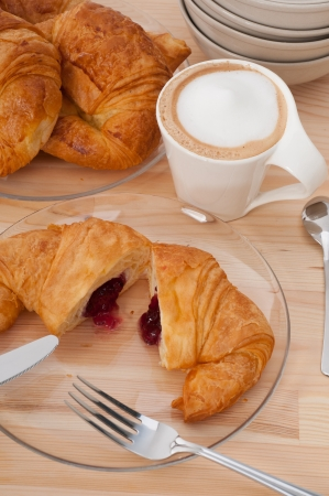 fresh croissant french bche and coffee typical traditional Italian breakfast Stock Photo - 15377925
