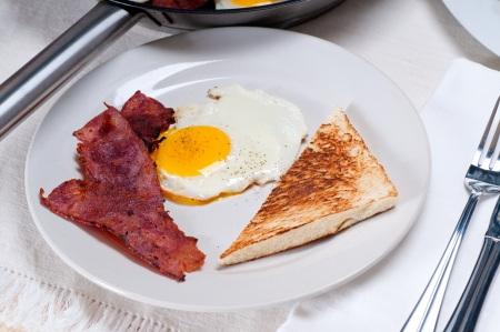 eggs sunny side up with bacon and toast typical english breakfast Stock Photo - 15377924