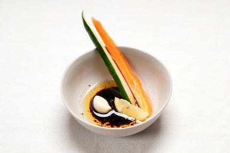 fresh raw carrot and cucumber with pinzimonio sauce italian snack appetizer Stock Photo - 15377916