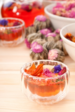 Herbal natural floral tea infusion with dry flowers ingredients Stock Photo - 16216813