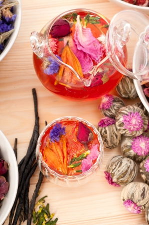 Herbal natural floral tea infusion with dry flowers ingredients Stock Photo - 16216815