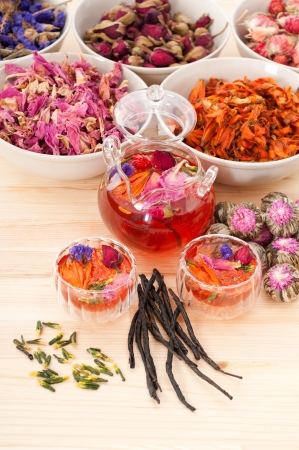 Herbal natural floral tea infusion with dry flowers ingredients Stock Photo - 16216816