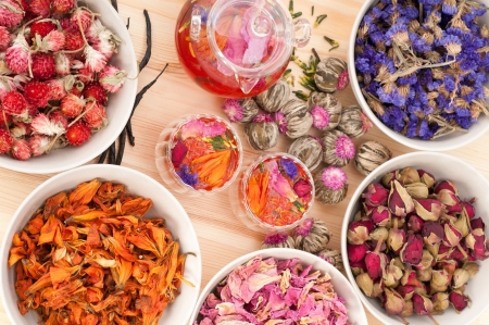 Herbal natural floral tea infusion with dry flowers ingredients Stock Photo - 16216818