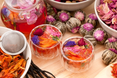 Herbal natural floral tea infusion with dry flowers ingredients Stock Photo - 16216817