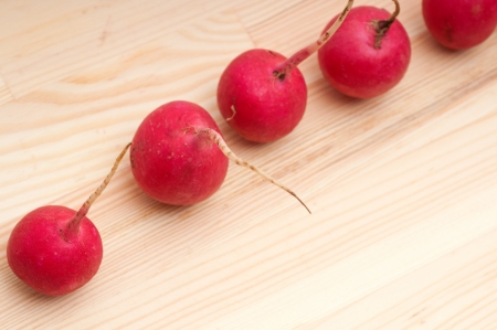 fresh red raw  raddish over pine wood table closeup Stock Photo - 16216835
