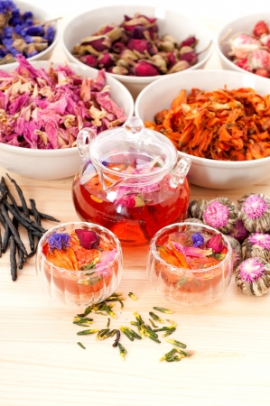 Herbal natural floral tea infusion with dry flowers ingredients Stock Photo - 16216842