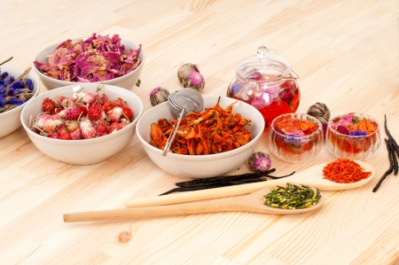 Herbal natural floral tea infusion with dry flowers ingredients Stock Photo - 16216839