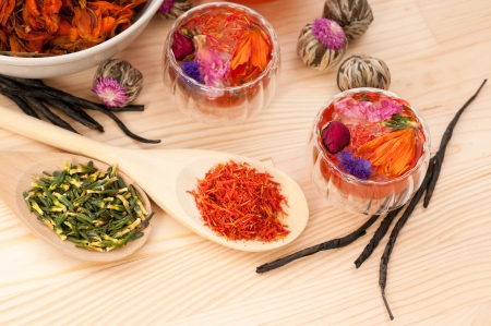 Herbal natural floral tea infusion with dry flowers ingredients Stock Photo - 16216843