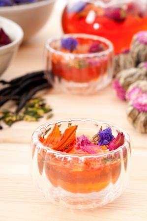 Herbal natural floral tea infusion with dry flowers ingredients Stock Photo - 16453112