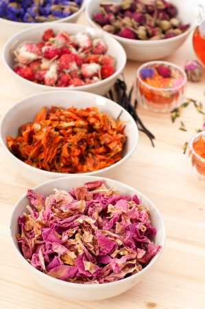 Herbal natural floral tea infusion with dry flowers ingredients Stock Photo - 16453121