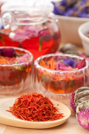 Herbal natural floral tea infusion with dry flowers ingredients Stock Photo - 16453123
