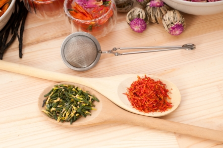 Herbal natural floral tea infusion with dry flowers ingredients Stock Photo - 16453118