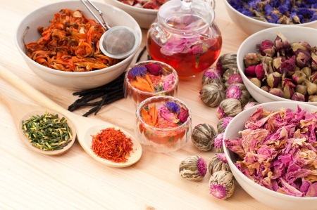 Herbal natural floral tea infusion with dry flowers ingredients Stock Photo - 16453124