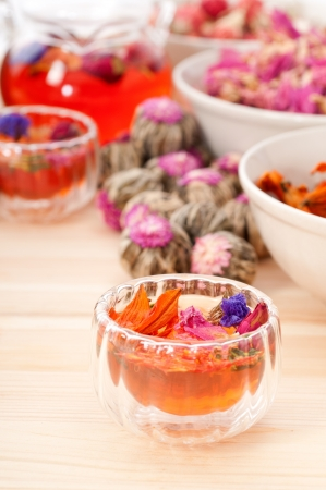 Herbal natural floral tea infusion with dry flowers ingredients Stock Photo - 16661866