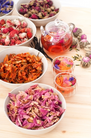Herbal natural floral tea infusion with dry flowers ingredients Stock Photo - 16662054