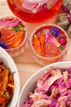 Herbal natural floral tea infusion with dry flowers ingredients Stock Photo - 16662065