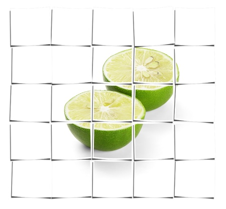 green fresh lime isolated over white background Stock Photo - 16661845