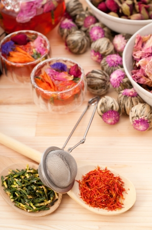 Herbal natural floral tea infusion with dry flowers ingredients Stock Photo - 16662030