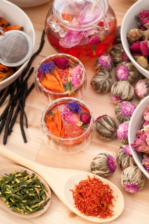 Herbal natural floral tea infusion with dry flowers ingredients Stock Photo - 16662064