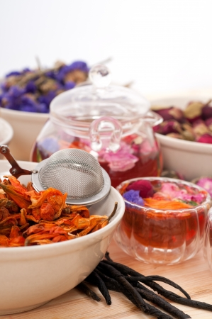 Herbal natural floral tea infusion with dry flowers ingredients Stock Photo - 16661905